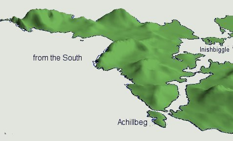 3D views - Achill Island viewed from the South - Max Elevation: 688M