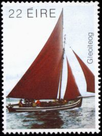 Stamp celebration traditional Connemara boats Plus a detail from the small church on McDara's Island
